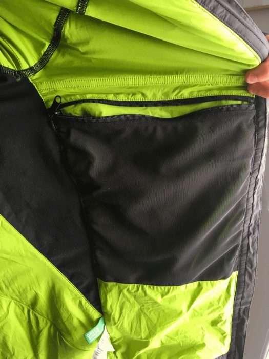 intérieur de la veste bormio avec sa grande poche
