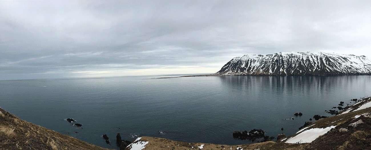 panoramique du nord de la péninsule des trolls en islande