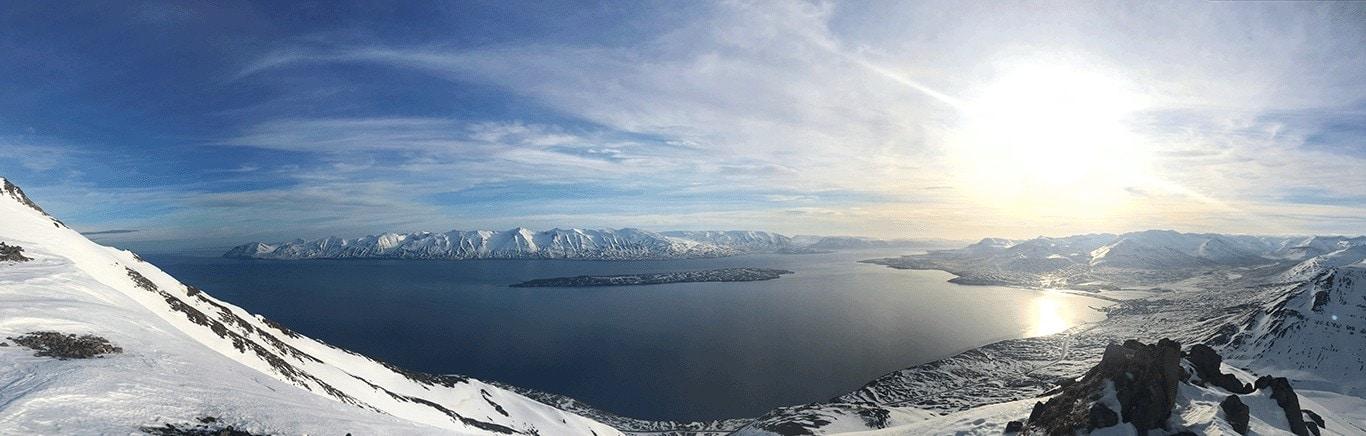 panoramique du fjord en islande à coté de Dalvik