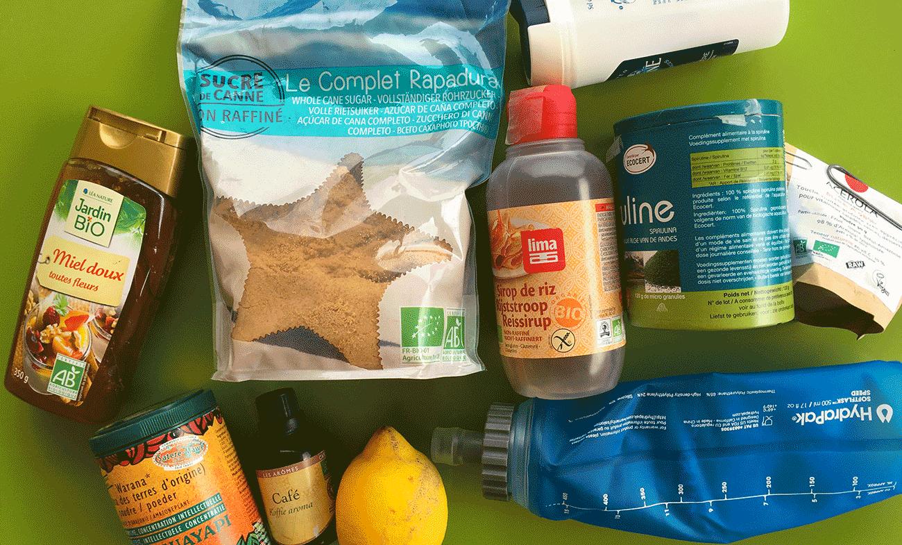 ingrédients pour recette maison de boisson énergétique trail, running, marathon
