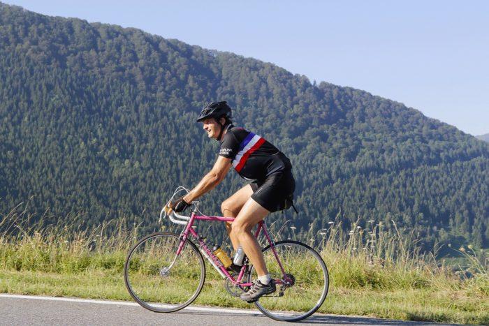 montée d'hautacam en cyclisme sur un mercier Cycl'n Trip