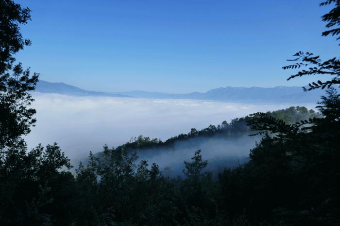 vue sur montagne depuis via francigena
