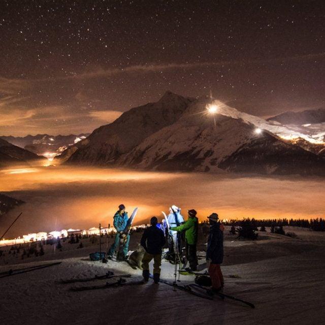 ski de randonnée en initiation de nuit