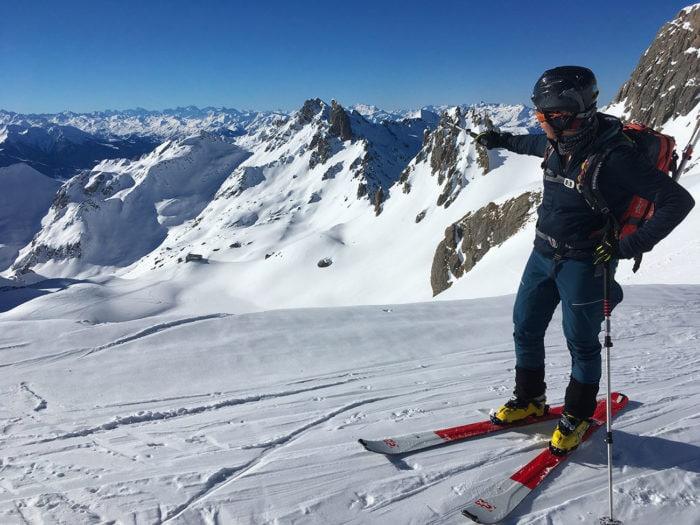 vue sur la pierra menta en ski de randonnée