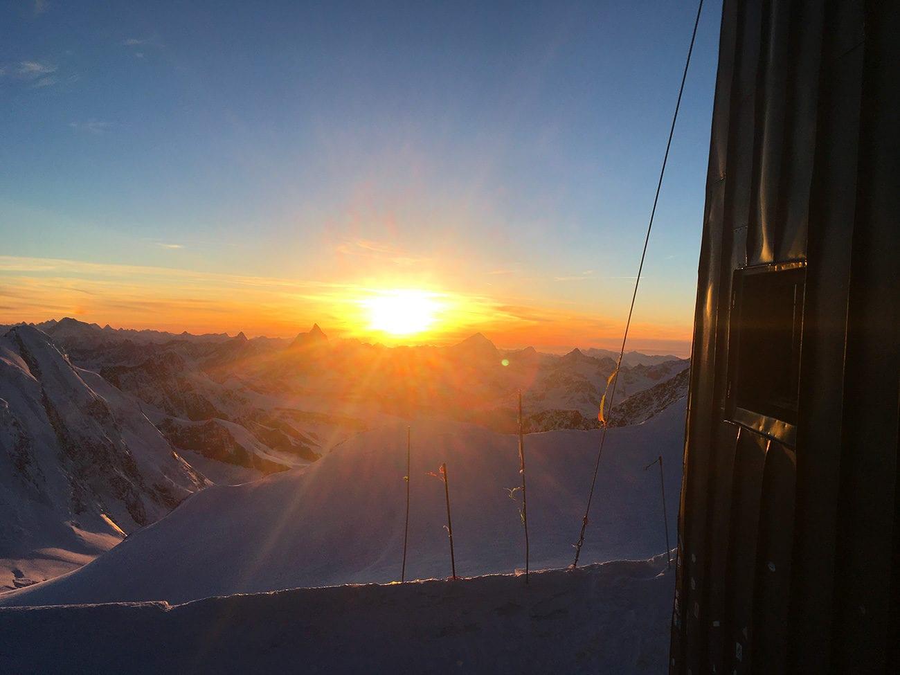 coucher de soleil depuis cabane margherita